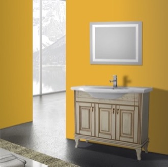 Bathroom Vanity 40 Inch Vanilla Floor Standing Bathroom Vanity Set, Lighted Vanity Mirror Included Nameeks BT-F07