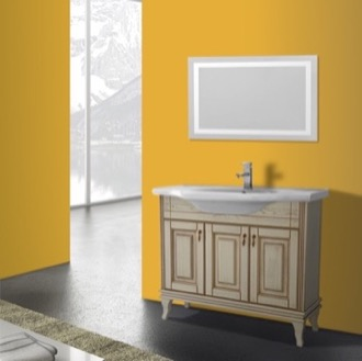 Bathroom Vanity 40 Inch Vanilla Floor Standing Bathroom Vanity Set, Lighted Vanity Mirror Included Nameeks BT-F09