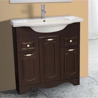 Bathroom Vanity 31 Inch Floor Standing Walnut Vanity Cabinet With Fitted Sink Nameeks CLA-F05