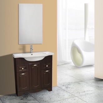 Bathroom Vanity 32 Inch Walnut Floor Standing Bathroom Vanity Set, Vanity Mirror Included Nameeks CLA-F45