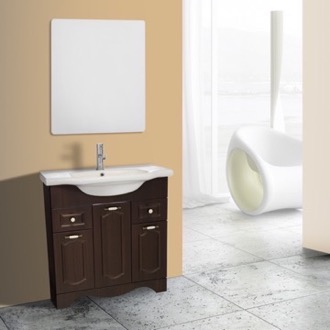 Bathroom Vanity 32 Inch Walnut Floor Standing Bathroom Vanity Set, Vanity Mirror Included Nameeks CLA-F47