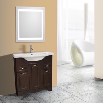 Bathroom Vanity 32 Inch Walnut Floor Standing Bathroom Vanity Set, Lighted Vanity Mirror Included Nameeks CLA-F51