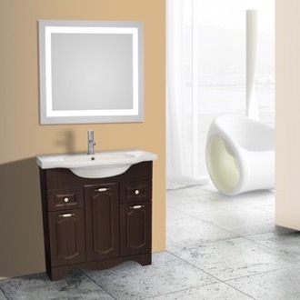 Bathroom Vanity 32 Inch Walnut Floor Standing Bathroom Vanity Set, Lighted Vanity Mirror Included Nameeks CLA-F53
