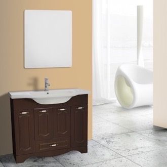 Bathroom Vanity 40 Inch Walnut Floor Standing Bathroom Vanity Set, Vanity Mirror Included Nameeks CLA-F62