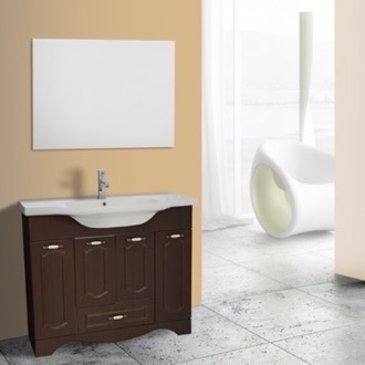 Bathroom Vanity 40 Inch Walnut Floor Standing Bathroom Vanity Set, Vanity Mirror Included Nameeks CLA-F64