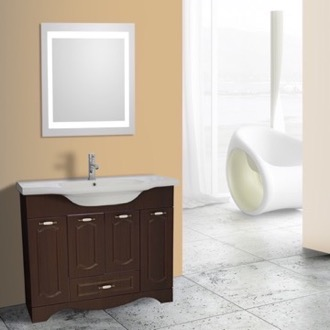 Bathroom Vanity 40 Inch Walnut Floor Standing Bathroom Vanity Set, Lighted Vanity Mirror Included Nameeks CLA-F68