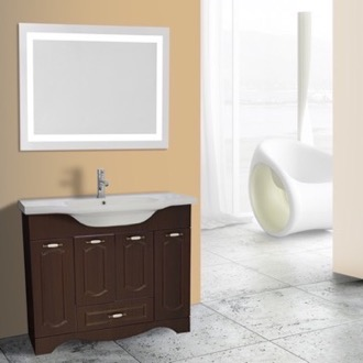 Bathroom Vanity 40 Inch Walnut Floor Standing Bathroom Vanity Set, Lighted Vanity Mirror Included Nameeks CLA-F72