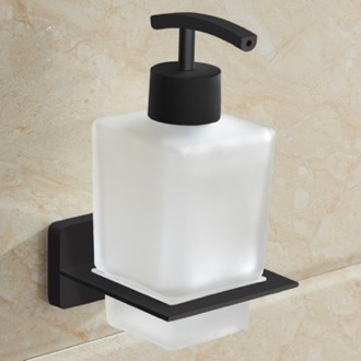 Soap Dispenser Matte Black Wall Mounted Frosted Glass Soap Dispenser Nameeks NCB62