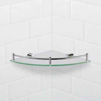 Bathroom Shelf Corner Glass Shelf With Chrome Mounting Nameeks NFA012