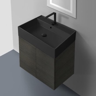 Bathroom Vanity 24 Inch Grey Oak Vanity Set with Matte Black Sink Nameeks SM24-49-Grey Oak