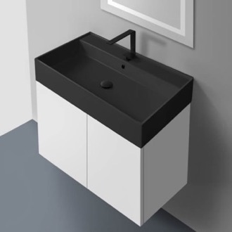 Bathroom Vanity 32 Inch Glossy White Vanity Set with Matte Black Sink Nameeks SM32-49-Glossy White