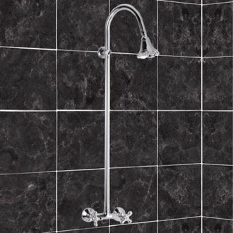 Exposed Pipe Shower Shower Mixer With Column and Shower Head In Brass Remer LI36US