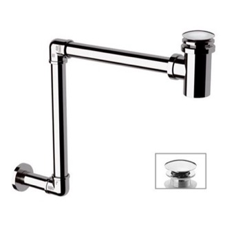 P-Trap Chrome Wall Mounted P-Trap With Click Clack Drain Remer 984