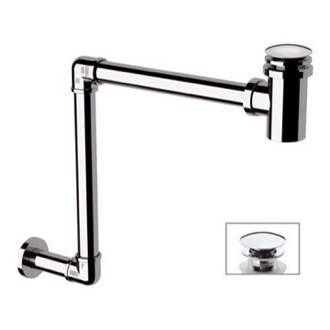 P-Trap Chrome Wall Mounted P-Trap With Click Clack Drain Remer 985