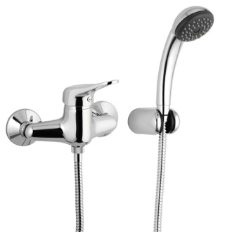 Shower Faucet Wall-Mounted Shower Mixer With Hand Shower and Holder In Chrome Remer K39
