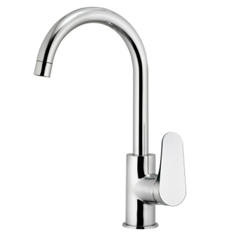 Kitchen Faucet Chromed Brass Mixer With High Movable Spout Remer L72US