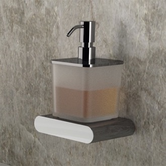 Soap Dispenser Frosted Glass and Brass Wall Mounted Soap Dispenser Remer LN13