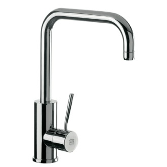 Kitchen Sink Faucet Round Body Sink Mixer With High Movable U-Spout and Single Side Lever Remer N72US