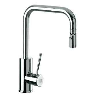 Kitchen Sink Faucet Sink Mixer With High Movable U-Spout, Dual Jet Handspray, and Round Body Remer N73US