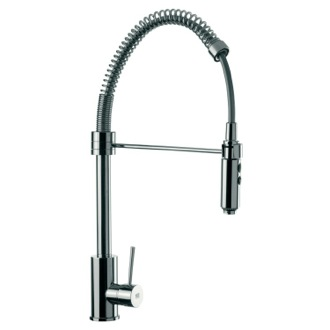 Kitchen Sink Faucet Round Body Chrome Mixer With Spring Spout, Pull Out Hand Spray and Side Lever Remer N87US