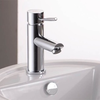 Bathroom Faucet Chrome Round Bathroom Sink Faucet Without Pop-Up Waste Remer N11