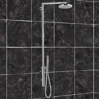 Exposed Pipe Shower External Thermostatic Shower Set in Brass Remer NT36BUS