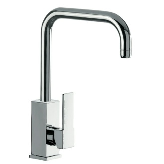 Kitchen Sink Faucet Brass Mixer With Single Side Lever and High Movable U-Spout Remer Q72US