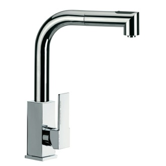 Kitchen Sink Faucet Sink Mixer With Square Body And Removable Corner Shaped Hand Spray Remer Q82US