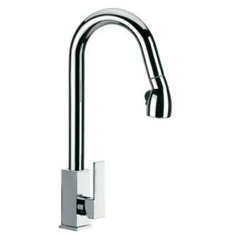 Kitchen Sink Faucet High J-Spout Mixer With Side Lever and Pull Out, 2 Function Hand Spray Remer Q86US