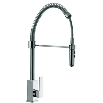 Kitchen Sink Faucet Deck Mount Squared Sink Mixer With Spring Spout and Pull Out Hand Spray Remer Q87US