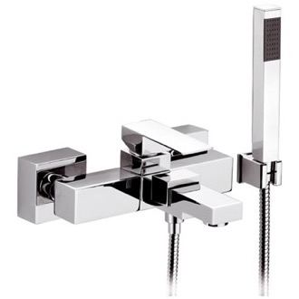 Tub Filler Bath and Shower Mixer With Hand Shower and Bracket in Chrome Finish Remer QD02
