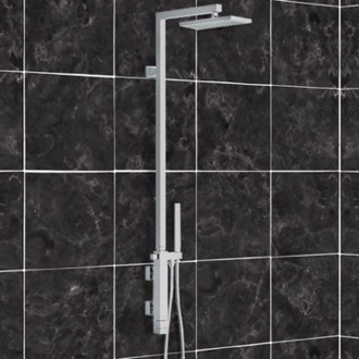 Exposed Pipe Shower Shower Set with Single Lever Mixer, Diverter, Hand Shower, and Brass Column with Shower Head Remer QT36US