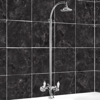 Exposed Pipe Shower Bathtub Mixer With Column and Shower Head In Brass Remer LR08US