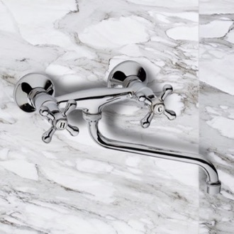 Tub Filler Chrome Wall Mount Tub Faucet with Long Swivel Spout Remer 41LI