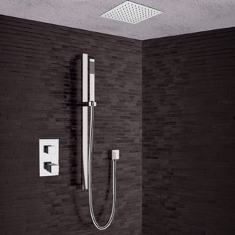Shower Faucet Chrome Thermostatic Shower System with 13