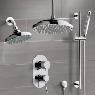 Shower Faucet Chrome Dual Shower Head System With Hand Shower Remer DCS03