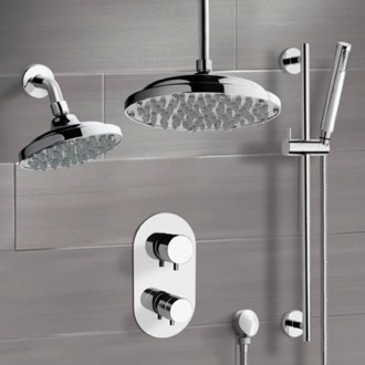 Shower Faucet Chrome Dual Shower Head System With Hand Shower Remer DCS04