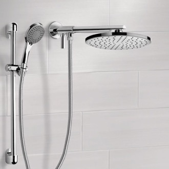 Shower Head Dual Shower Head Set With 2-Way Diverter Shower Head Arm and Sliding Rail Remer DSH02