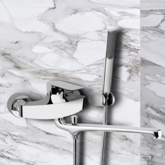 Tub Filler Chrome Wall Mount Tub Faucet with Long Swivel Spout and Hand Shower Remer I49
