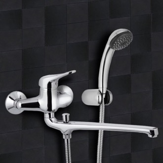 Tub Filler Chrome Wall Mount Tub Faucet with Long Swivel Spout and Hand Shower Remer K49