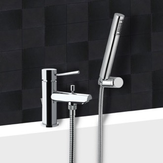 Tub Filler Chrome Tub Faucet With Hand Shower Remer N03
