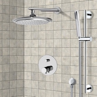 Shower Faucet Chrome Thermostatic Shower System with 9