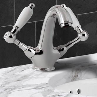 Bathroom Faucet Two Handle Washbasin Mixer With Click-Clack Pop-Up Waste Remer LR13BUS
