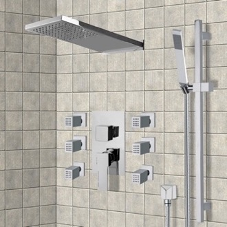 Shower Faucet Chrome Shower System with Rain Shower Head, Hand Shower, and Body Sprays Remer S11