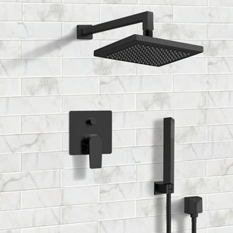 Shower Faucet Matte Black Shower System with 8