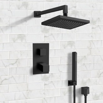 Shower Faucet Matte Black Thermostatic Shower System with 8