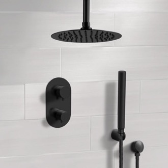 Shower Faucet Matte Black Thermostatic Ceiling Shower System with Rain Shower Head and Hand Shower Remer SFH38