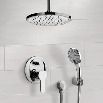 Shower Faucet Chrome Shower System with Rain Ceiling Shower Head and Hand Shower Remer SFH40