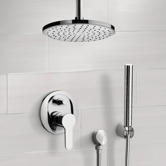 Shower Faucet Chrome Shower System with Rain Ceiling Shower Head and Hand Shower Remer SFH41