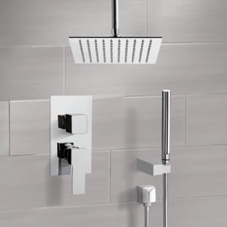 Shower Faucet Chrome Ceiling Shower System With Rain Shower Head and Hand Shower Remer SFH42